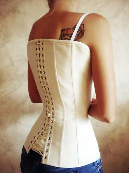 Underbust lingerie corset with a high back
