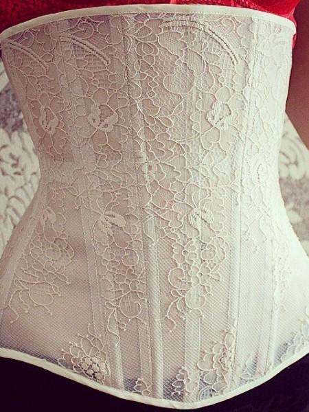 Light-beige mesh corset