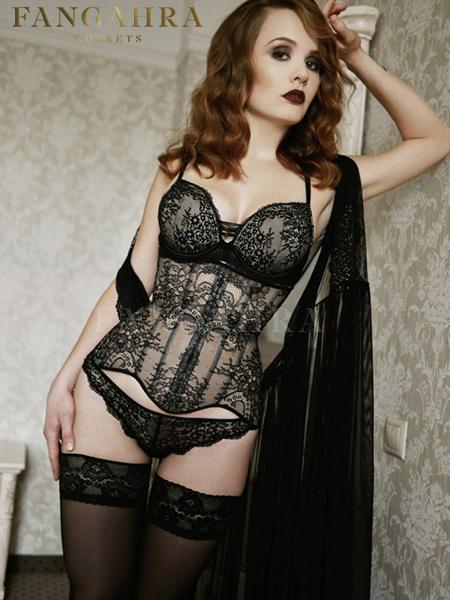 "Transparent mesh corset ""Delicate"""