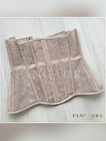 "Steel-boned mesh underbust corset ""Spring Flower"""